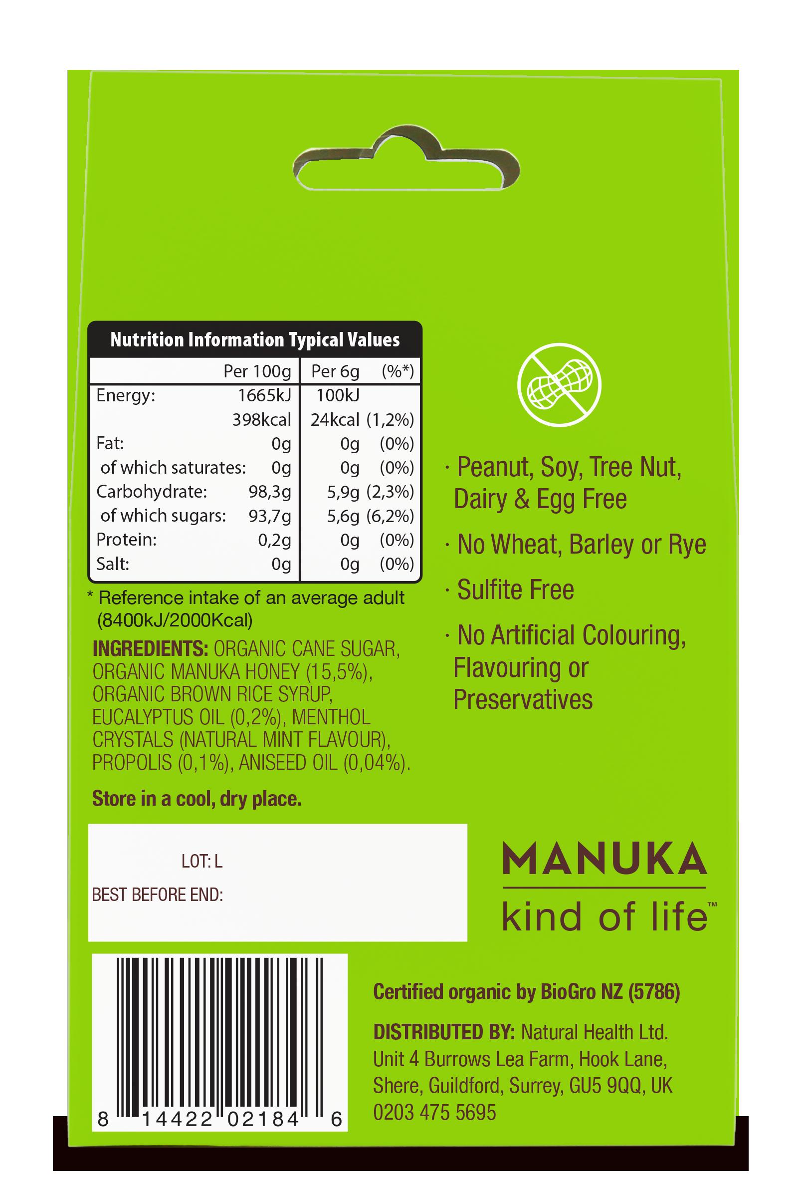ORGANIC Natural Manuka Honey Drops Eucalyptus 120g