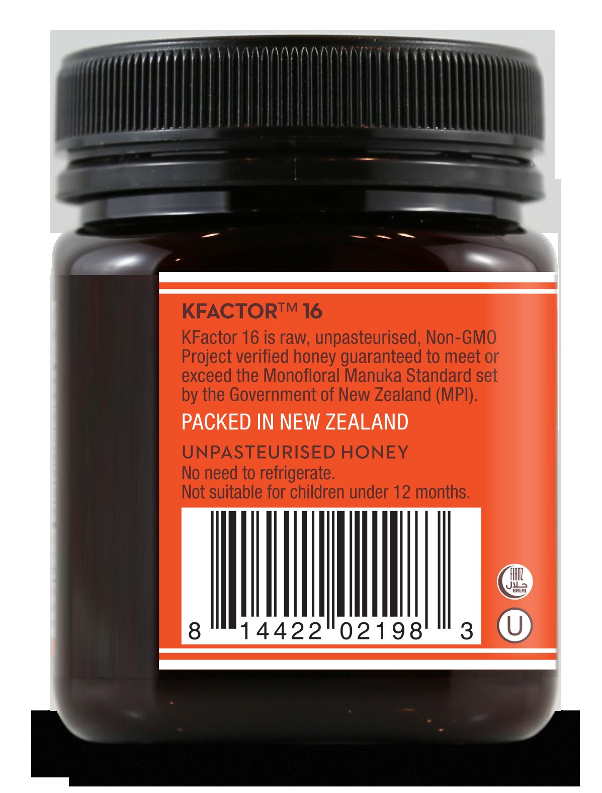 Raw Monofloral K Factor 16 Manuka Honey 250g