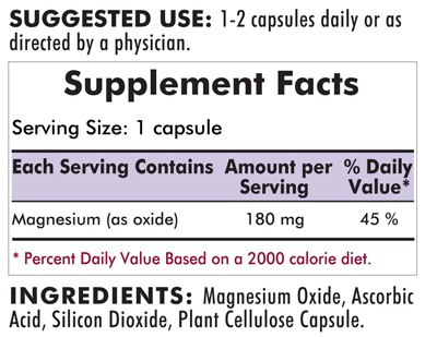 Buffered Magnesium Oxide 180mg 250's