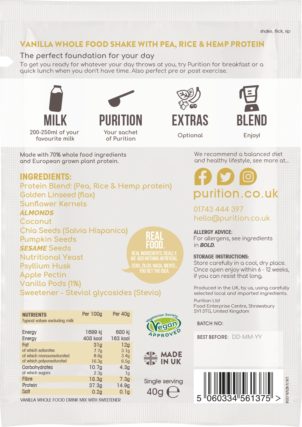 VEGAN Wholefood Plant Nutrition With Vanilla SINGLE SACHET 40g