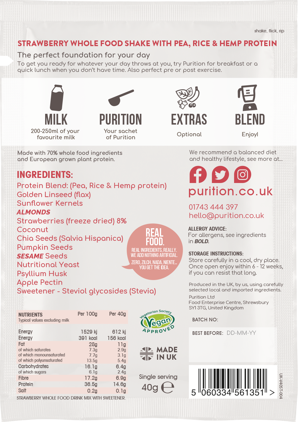VEGAN Wholefood Plant Nutrition With Strawberry SINGLE SACHET 40g