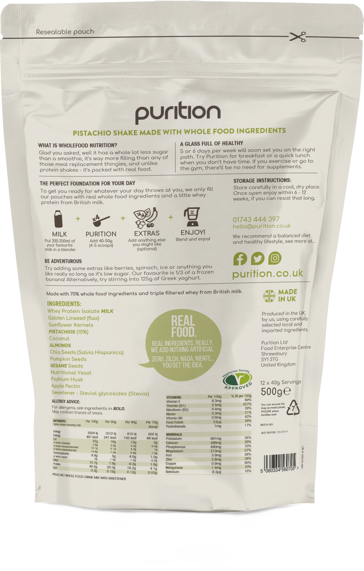 Wholefood Nutrition With Pistachios 500g