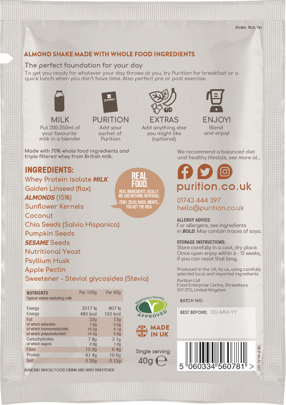 Wholefood Nutrition With Almonds CASE 8 x 40g