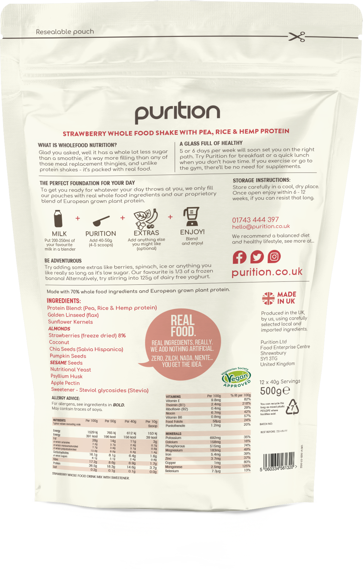 VEGAN Wholefood Plant Nutrition With Strawberry 500g