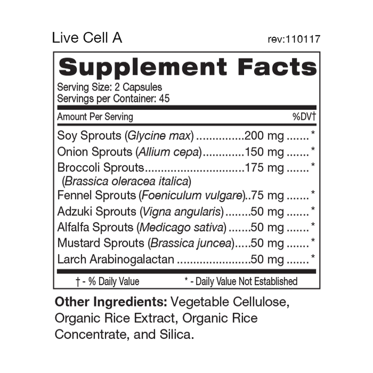 Live Cell Sprouted Food Supplement for Type A 90's