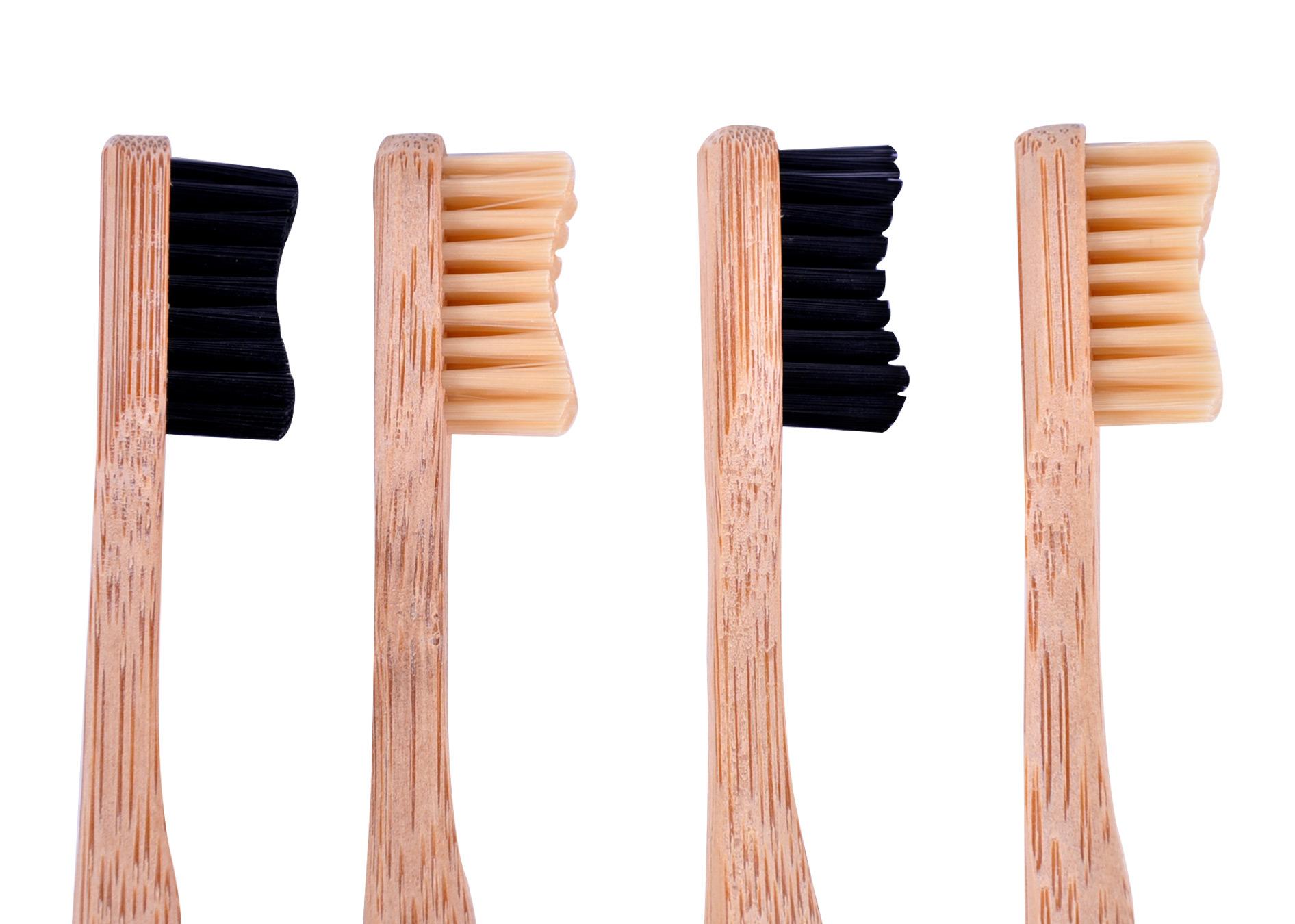 Bamboo Toothbrushes Purely Natural Set of 4 Medium Bristles