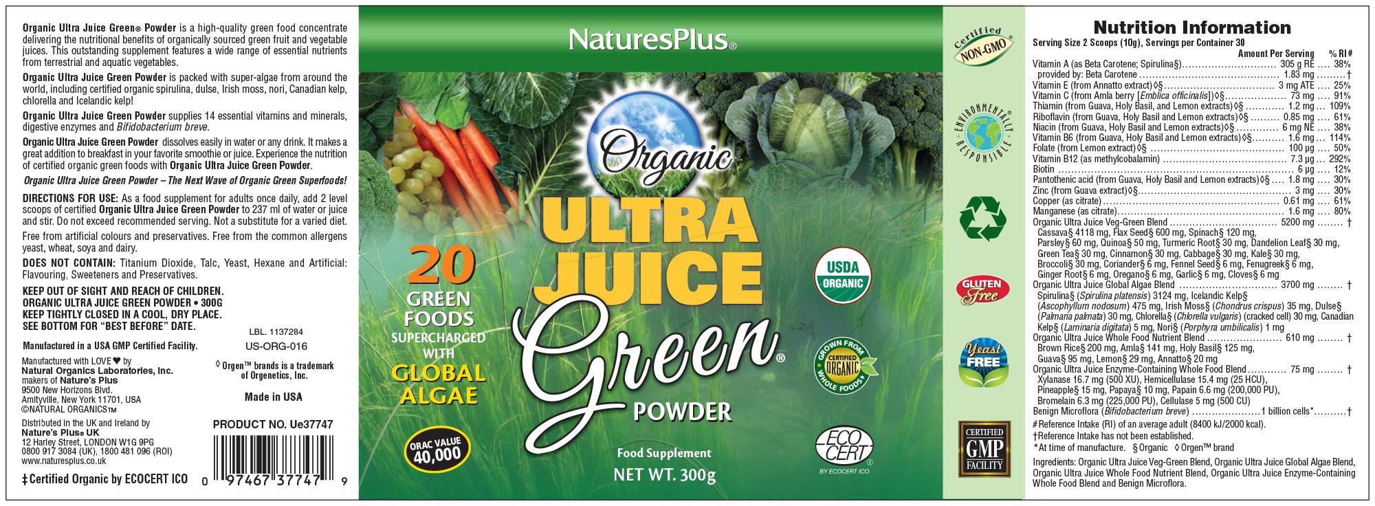 Ultra Juice Green Powder (Organic) 300g