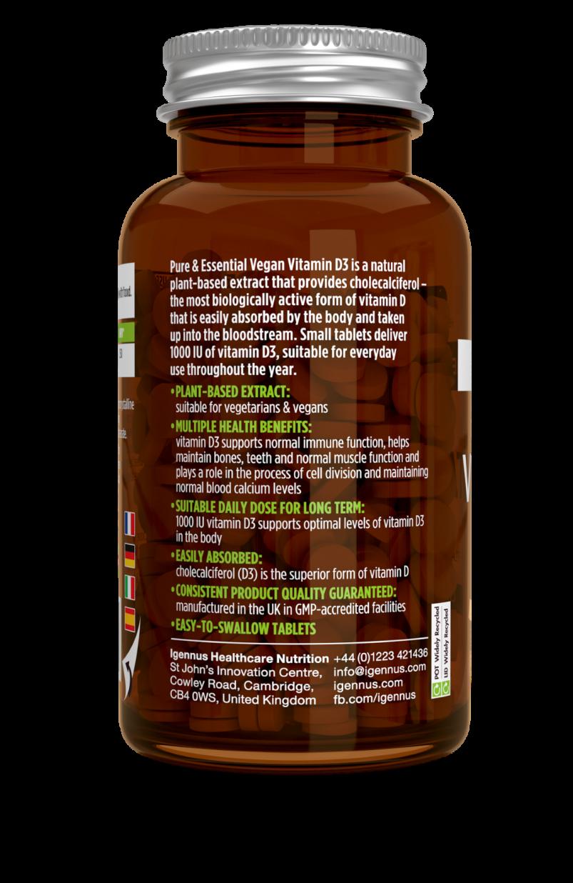 Pure & Essential Vegan Vitamin D3 1000 IU 365's