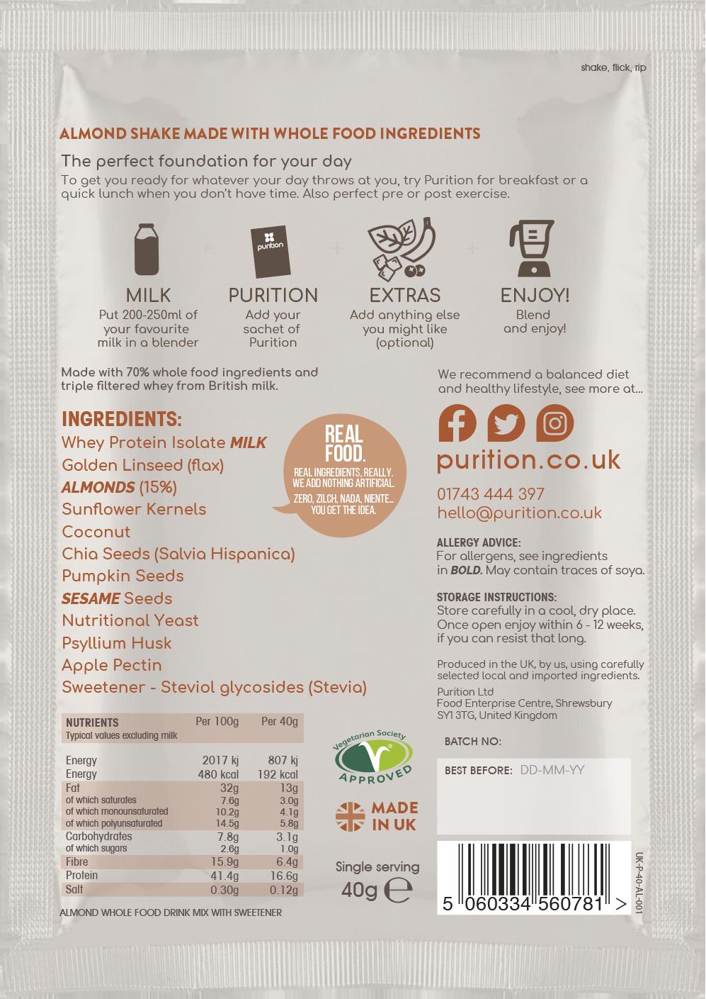 Wholefood Nutrition With Almonds SINGLE SACHET 40g