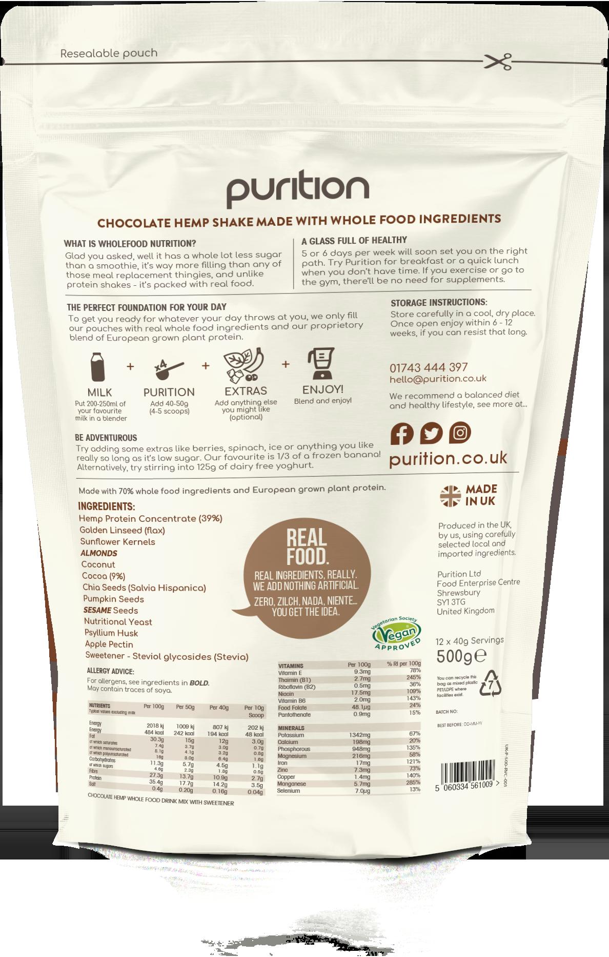 Wholefood Nutrition Vegan Cocoa (formerly hemp choc)  500g