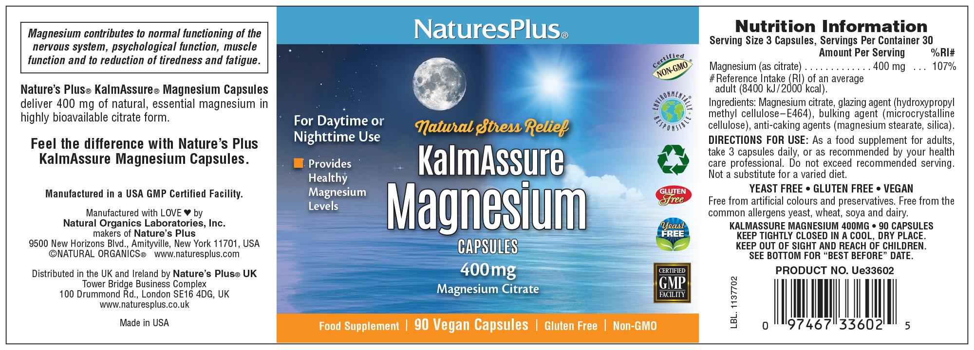 KalmAssure Magnesium Caps 400mg 90's