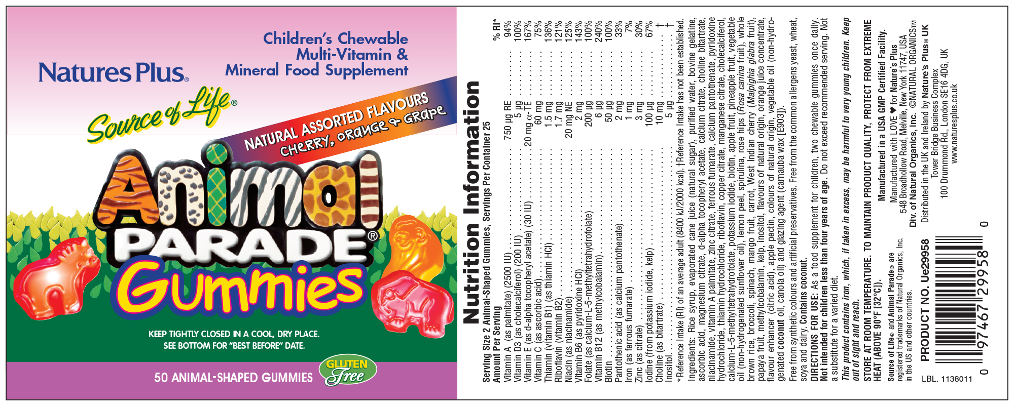 Source of Life Animal Parade Gummies Natural Assorted Flavours 50's (Currently Unavailable)