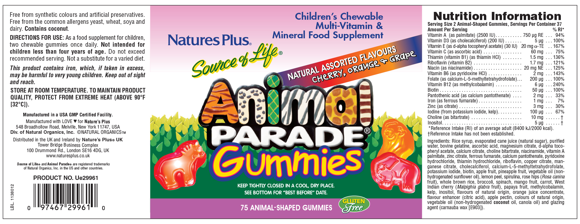 Source of Life Animal Parade Gummies Natural Assorted Flavours 75's