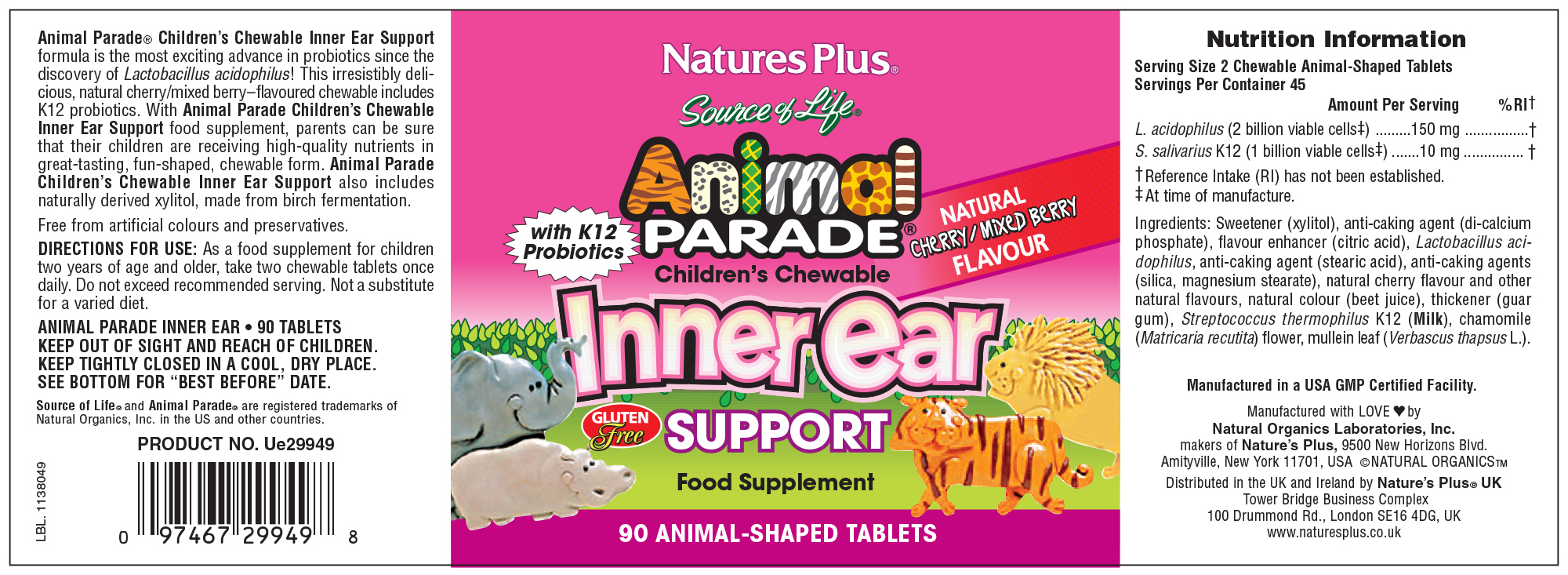 Source of Life Animal Parade Inner Ear Support Natural Cherry/Mixed Berry Flavour 90's