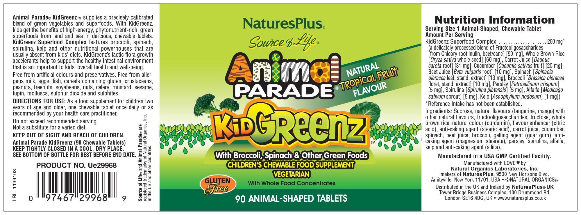 Source of Life Animal Parade KidGreenz Natural Tropical Fruit Flavour 90's