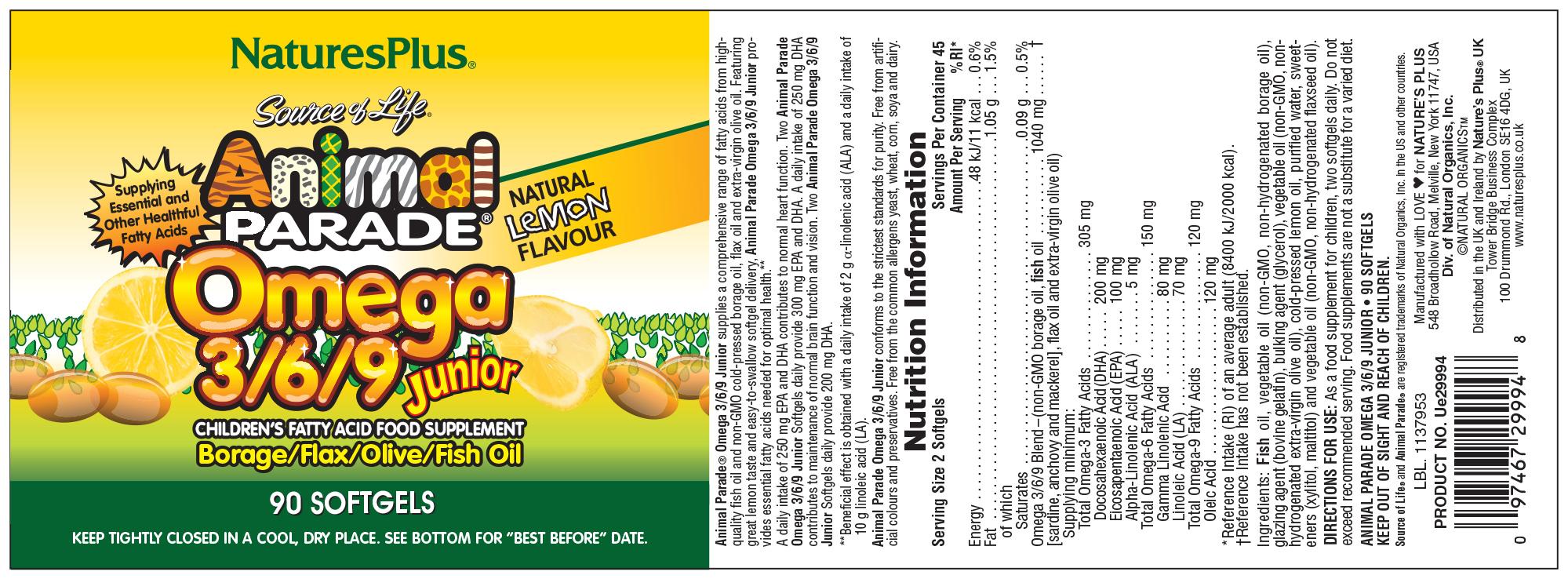 Source of Life Animal Parade Omega 3/6/9 Junior Natural Lemon Flavour 90's