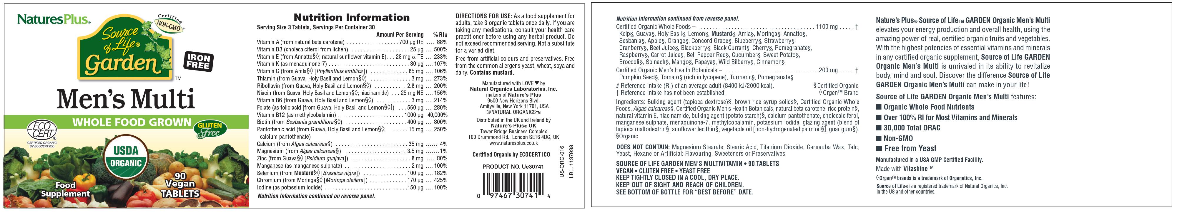 Source of Life Garden Certified Organic Men's Multi 90's