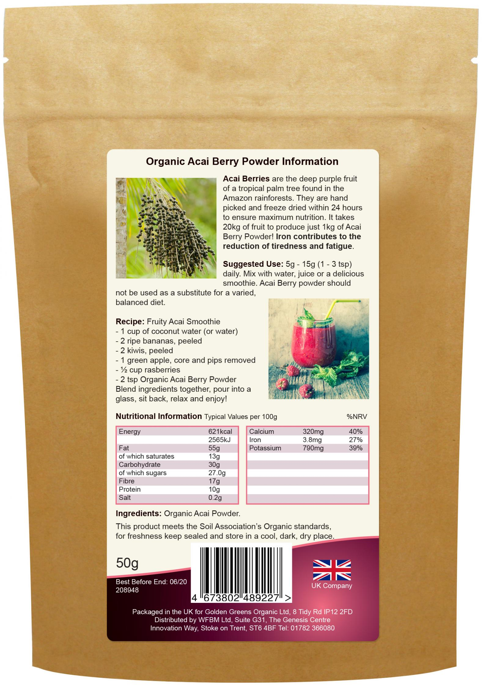 Organic Acai Berry Powder 50g (Currently Unavailable)