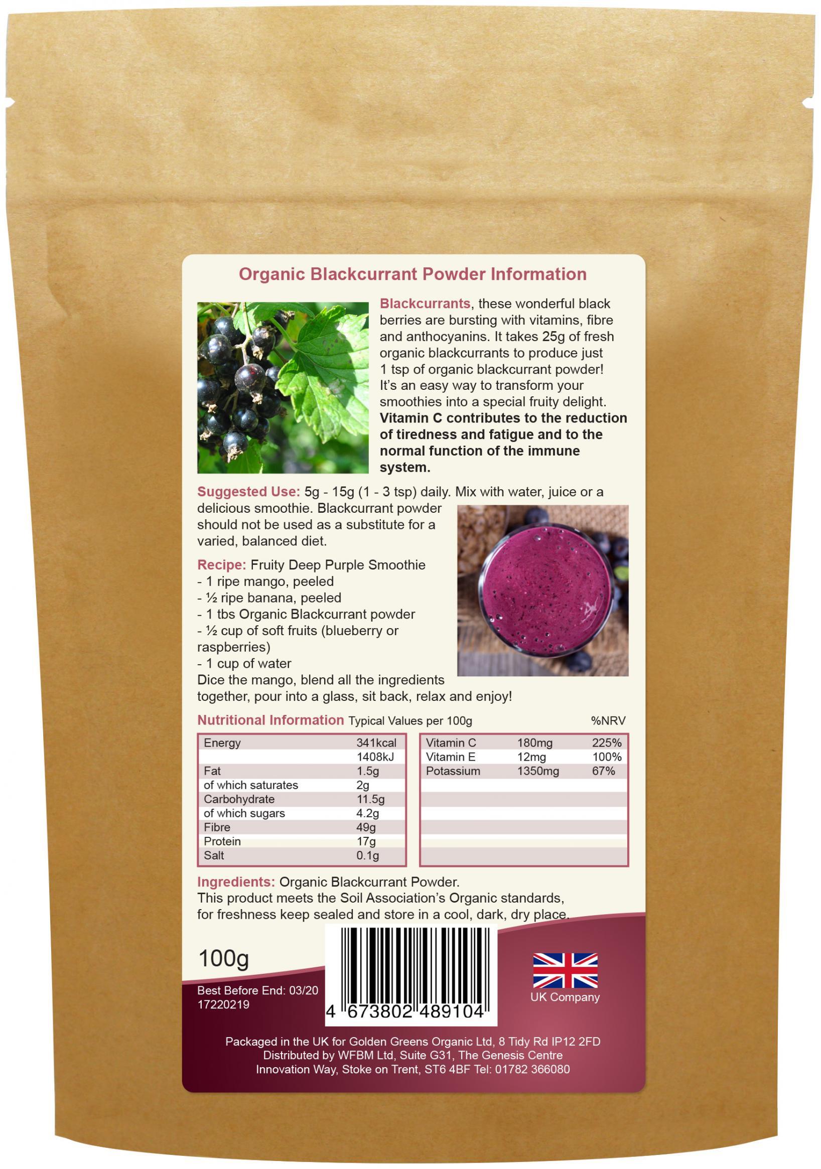 Organic Blackcurrant Powder 100g
