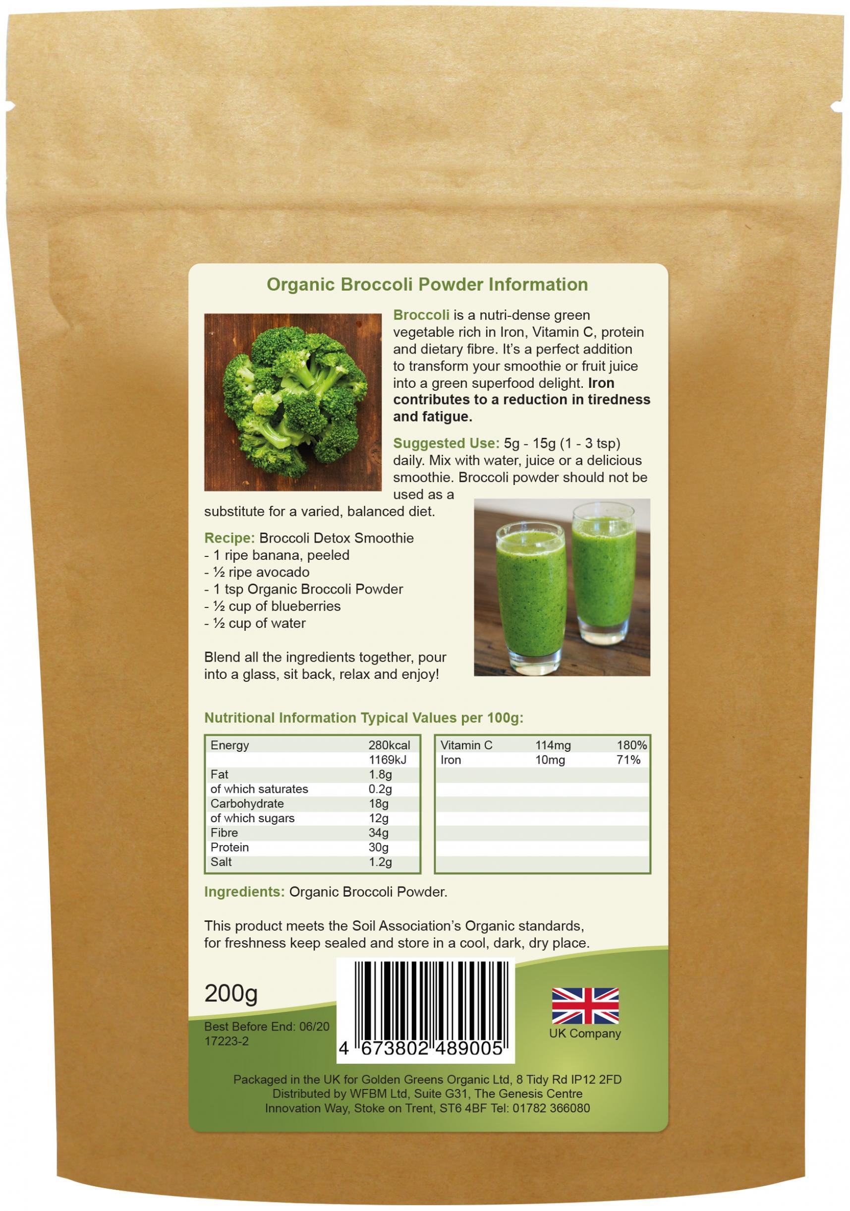 Organic Broccoli Powder 200g (Currently Unavailable)