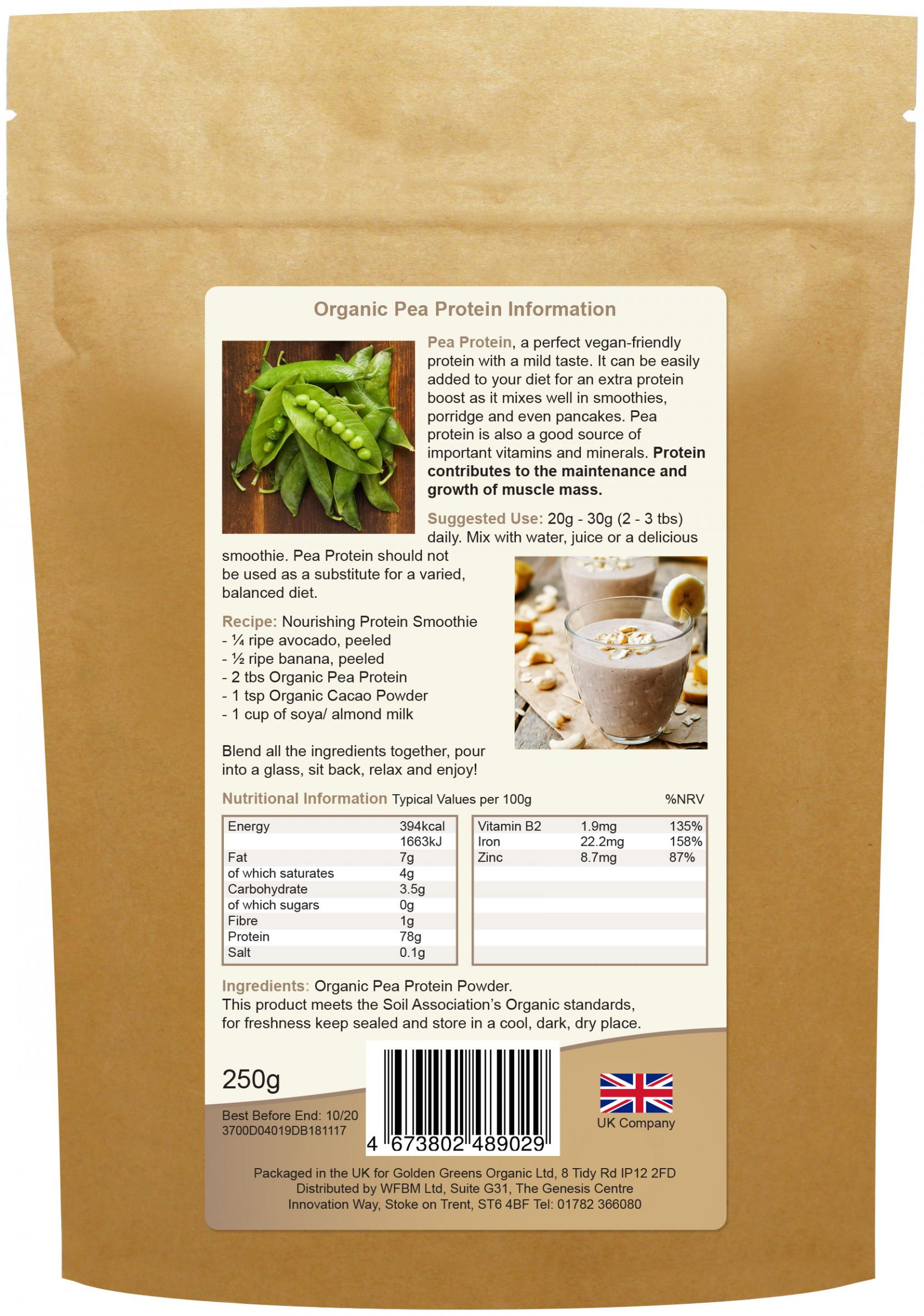 Organic Canadian Pea Protein 250g (Currently Unavailable)