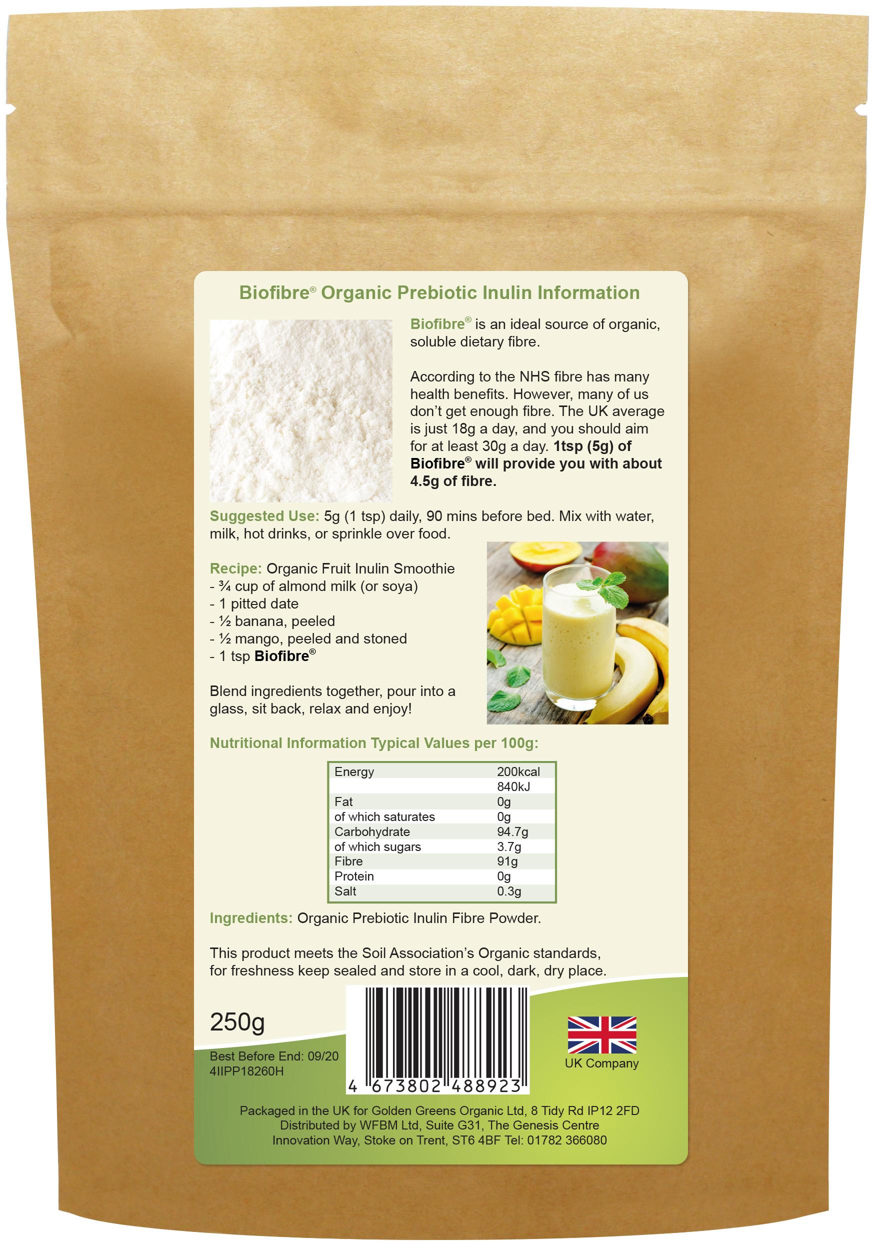 Biofibre Organic Prebiotic Inulin 250g