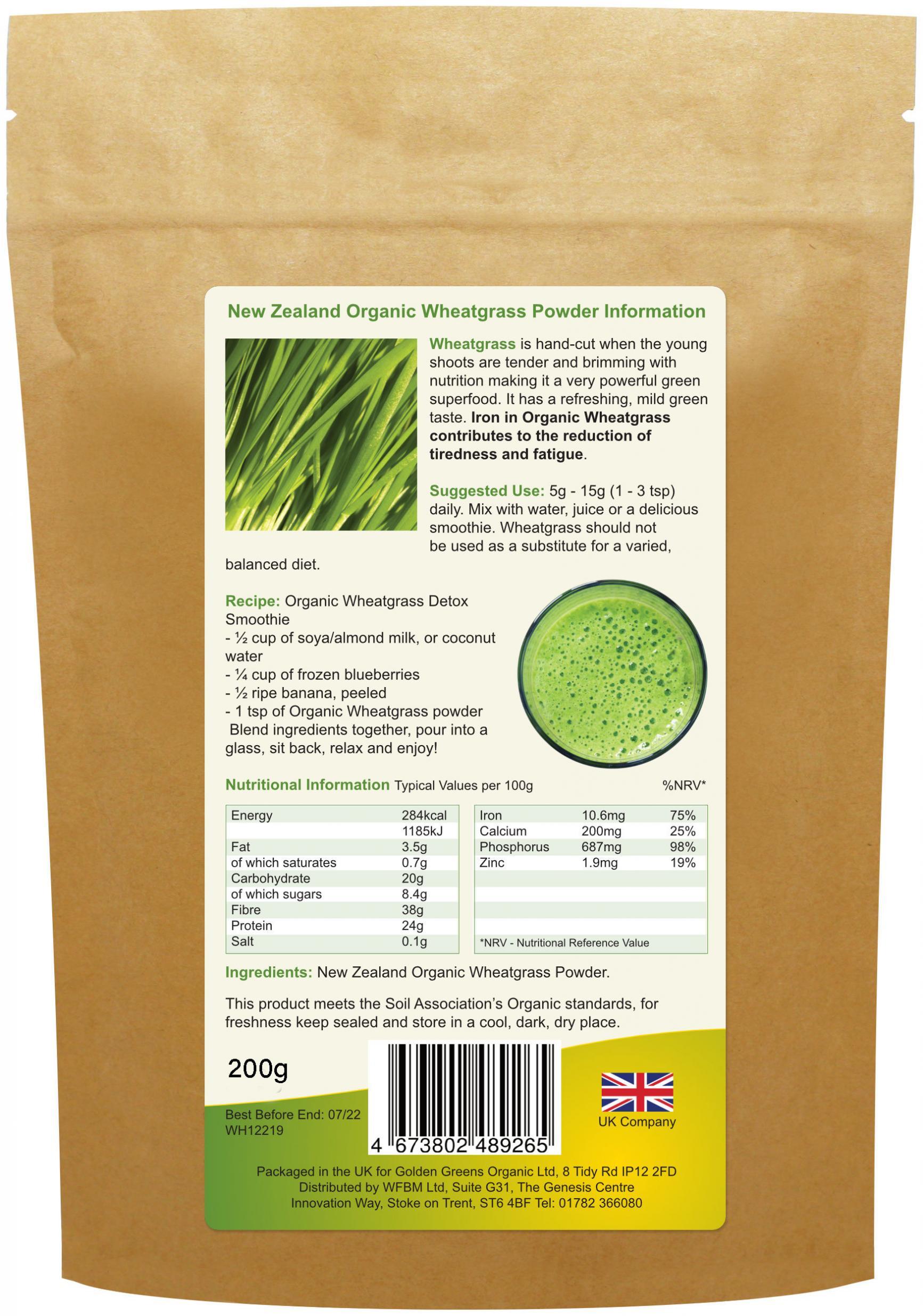 New Zealand Organic Wheatgrass Powder 200g