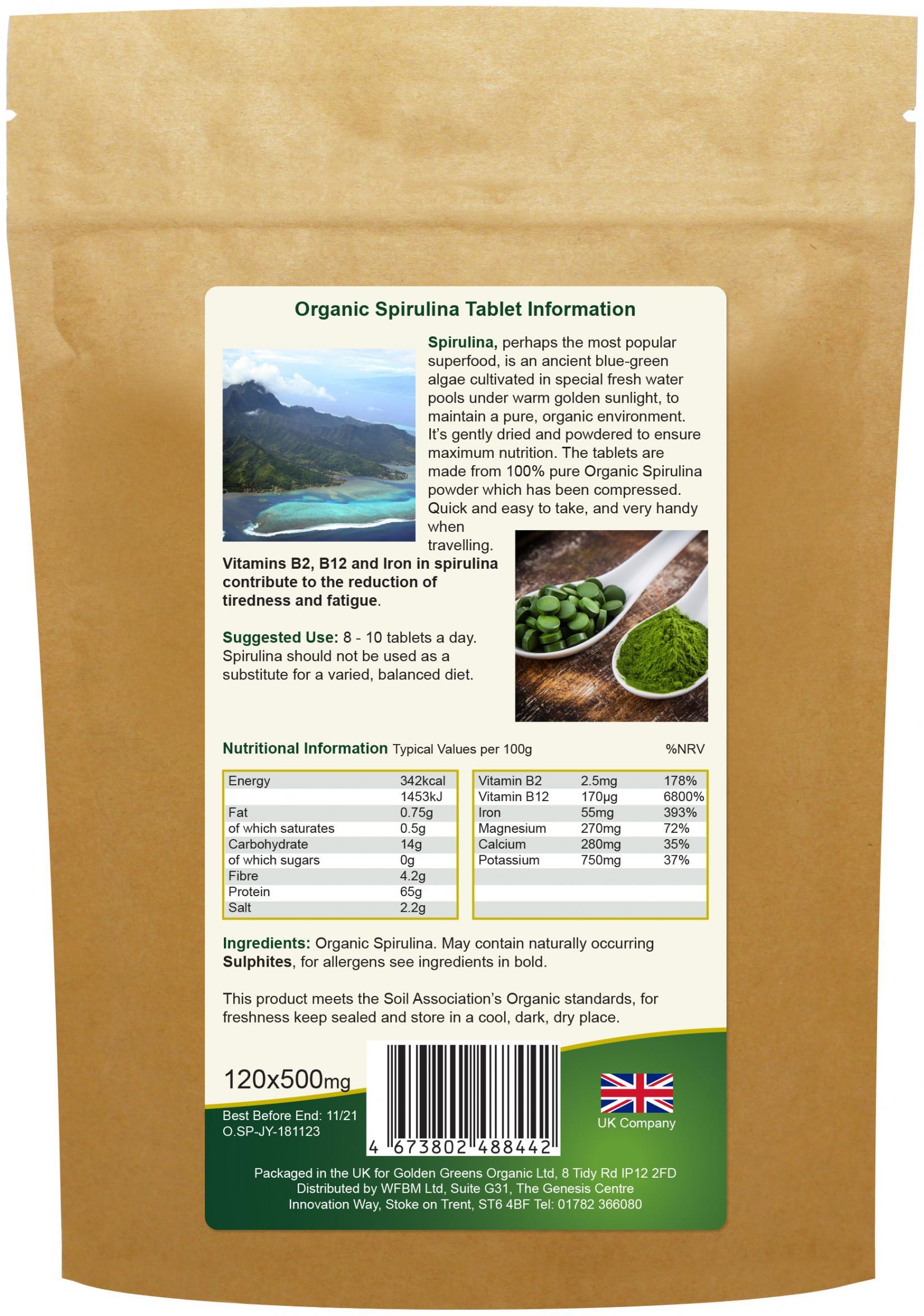 Organic Spirulina Tablets 120's