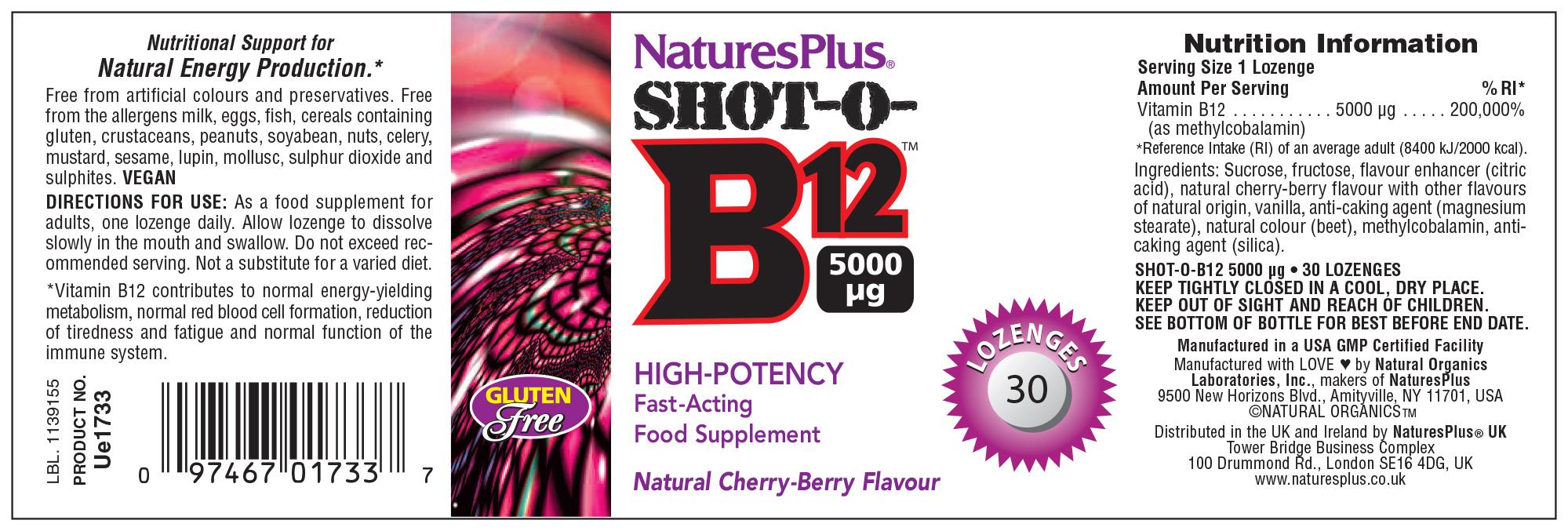 Shot-O-B12 30 Lozenges