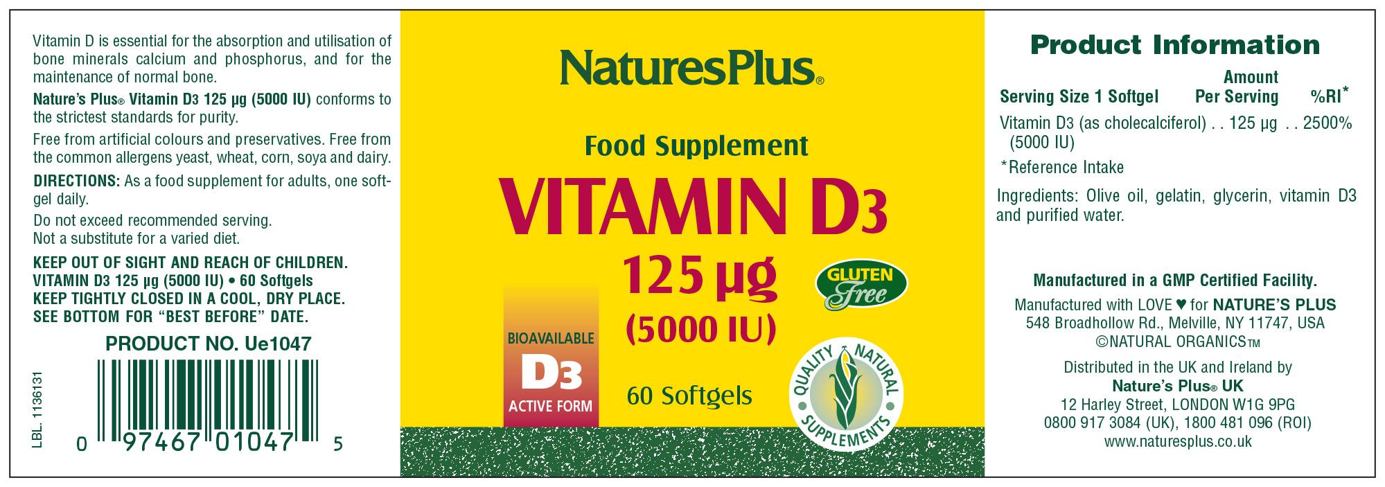 Vitamin D3 5000iu 60's