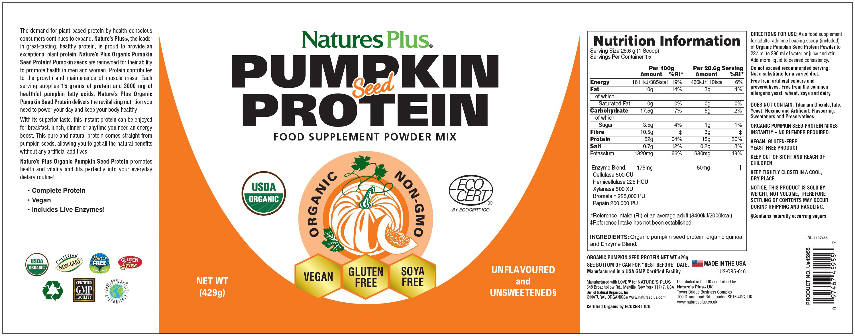 Pumpkin Seed Protein - Organic 429g (Currently Unavailable)