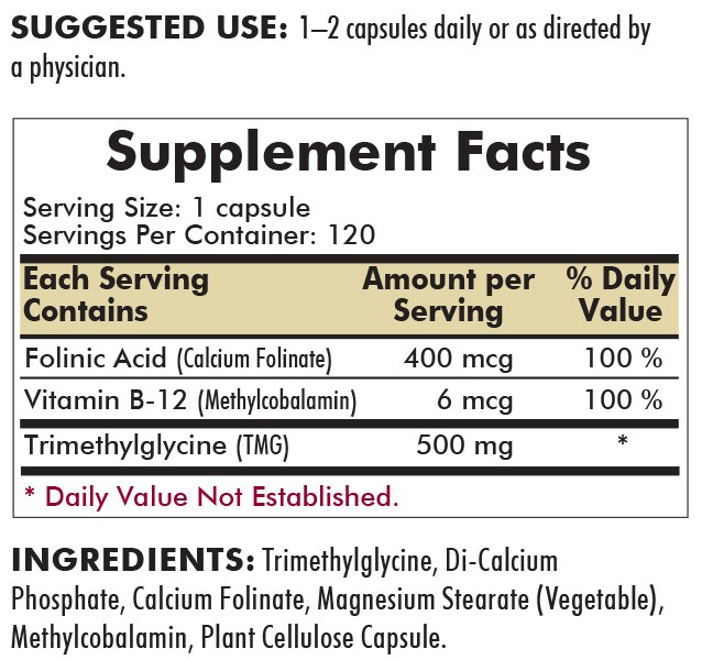 TMG 500 mg with Folinic Acid & Methyl B-12 120's