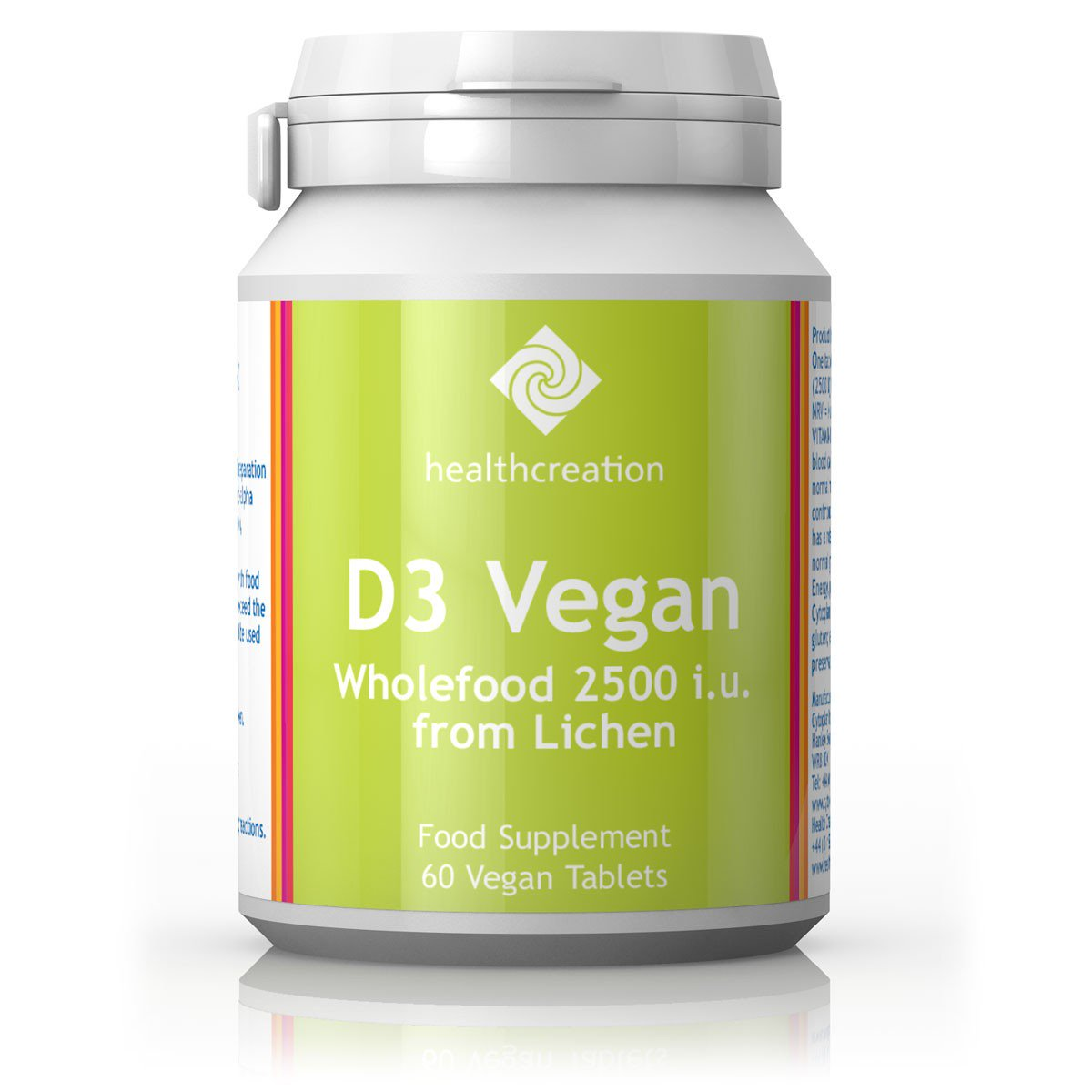 Health Creation D3 Vegan Wholefood 2500 iu from Lichen 60's