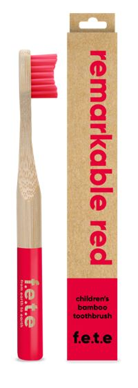 Children's Bamboo Toothbrush - Remarkable Red (single)