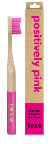 Children's Bamboo Toothbrush Positively Pink (Single)