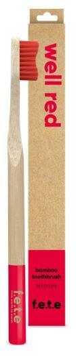 Bamboo Toothbrush Medium Bristles - Well Red (single)