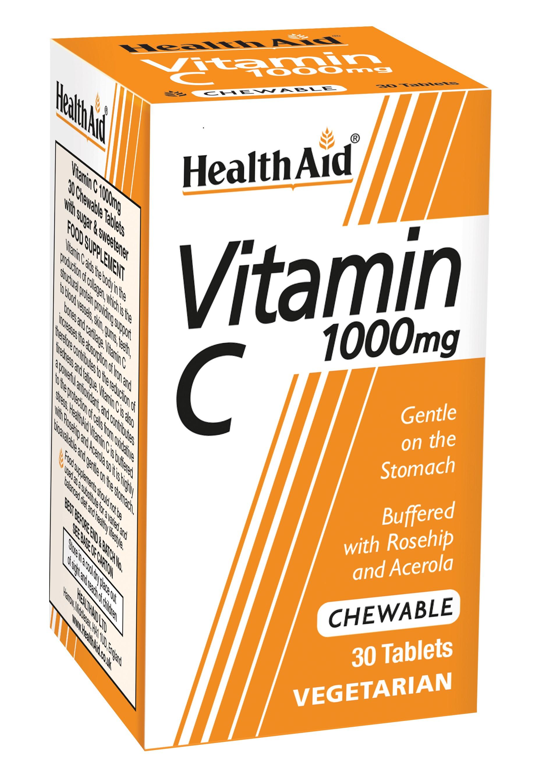 Vitamin C 1000mg Chewable Orange Flavour 30's