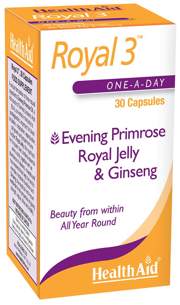Royal 3 Evening Primrose, Royal Jelly & Ginseng  30's