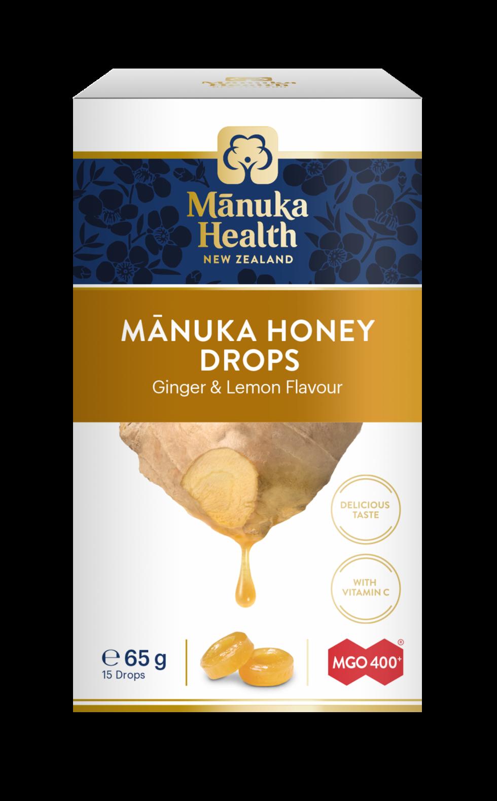 Manuka Honey Drops Ginger & Lemon MGO 400+ 65g 15's
