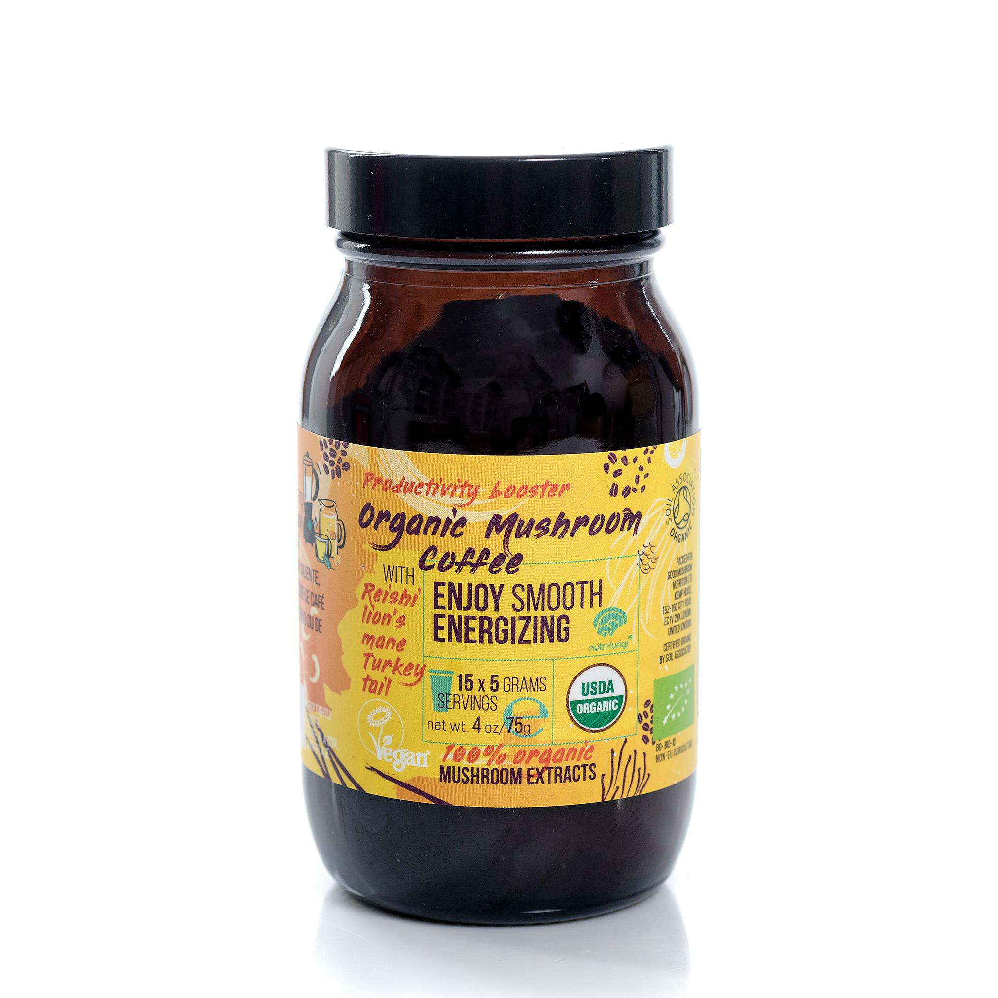 Organic Mushroom Coffee, Enjoy Smooth Energizing 75g