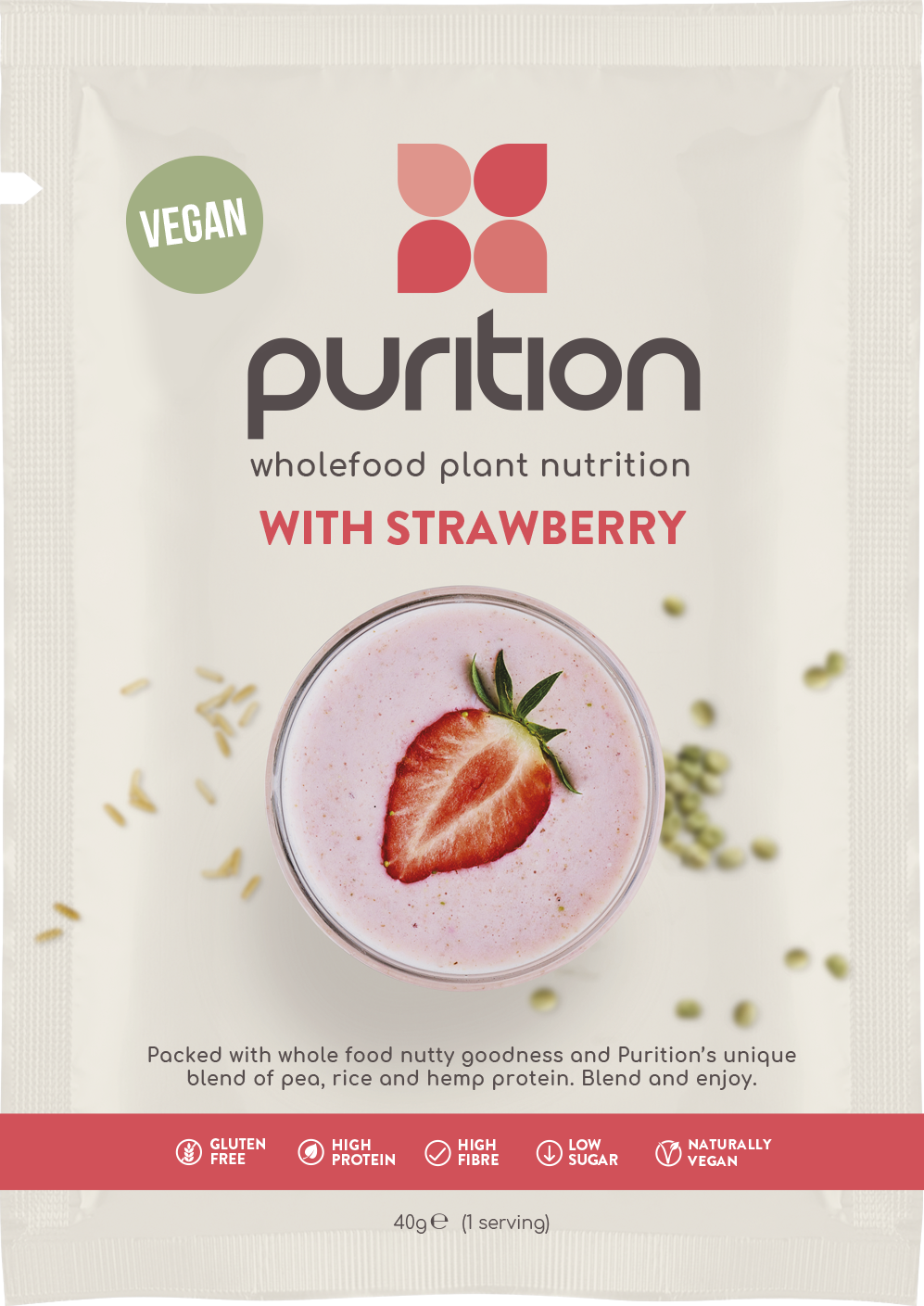 VEGAN Wholefood Plant Nutrition With Strawberry CASE 8 x 40g