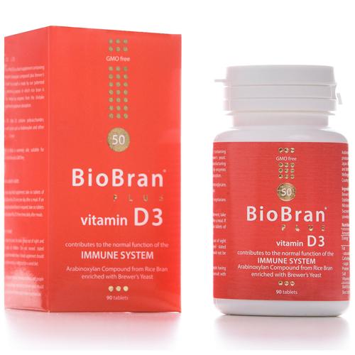 BioBran Plus Vitamin D3 90's