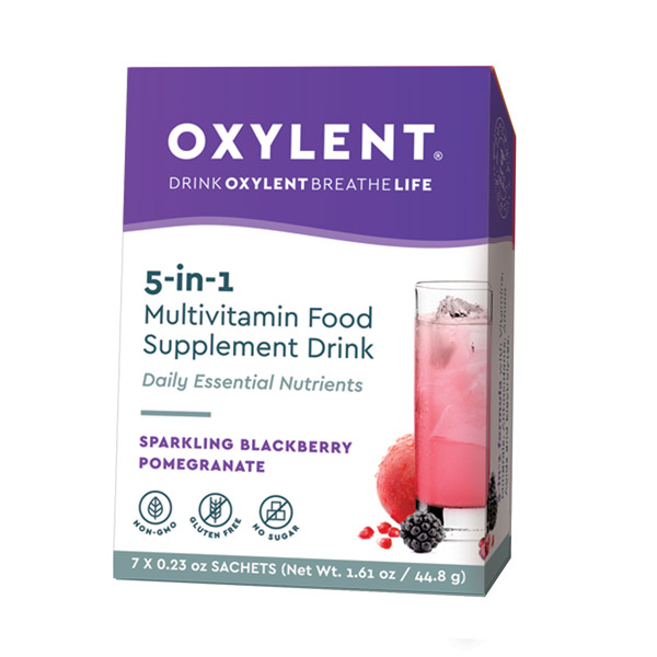 5-in-1 Multivitamin Food Supplement Drink Sparkling Blackberry/ Pomegranate 7's