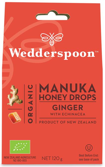 ORGANIC Natural Manuka Honey Drops Ginger 120g